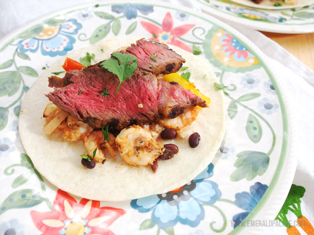 An easy fajita recipe featuring shrimp, steak, and a creole sauce.