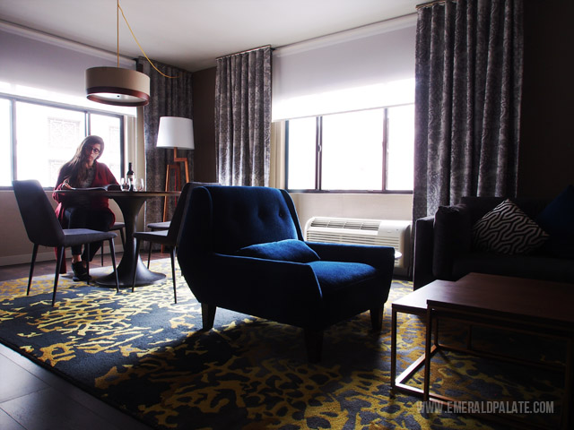 The Paramount Hotel in downtown Seattle is a boutique hotel with posh interiors.