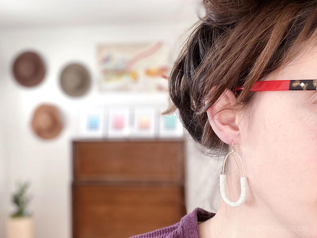 handmade modern lightweight earring Polymer Clay statement earring minimalist earrings Red Hoop Earrings